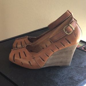 Frye leather wedge heels